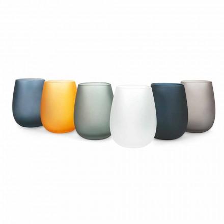 Sada moderních barevných skleněných sklenic na vodu, 12 kusů - ráfek
