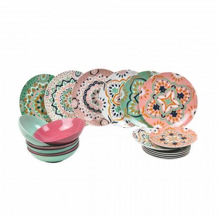 Sada barevných nádobí v porcelánu 18 kusů - Playasol