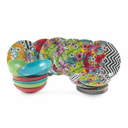 Nádobí set barevné porcelán 18 kusů - Portoriko
