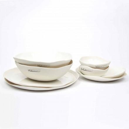 Luxusní designový 24-dílný bílý porcelánový talíř - Arciregale