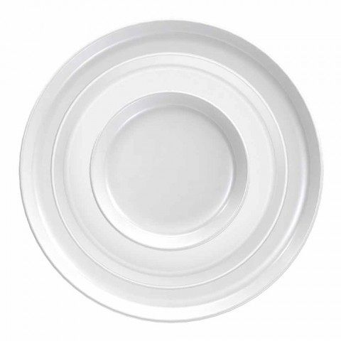 Bílý porcelánový talíř s moderním designem, 24 kusů - arktický