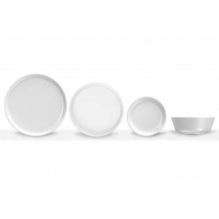 Bílá porcelánová večeře s moderním designem, 24 kusů - arktická