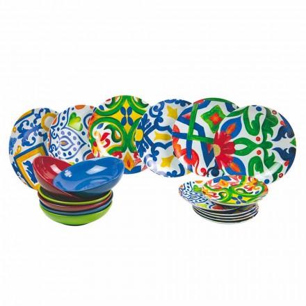 Sada moderních a barevných talířů v kameniny a porcelánu 18 kusů - Ciclade
