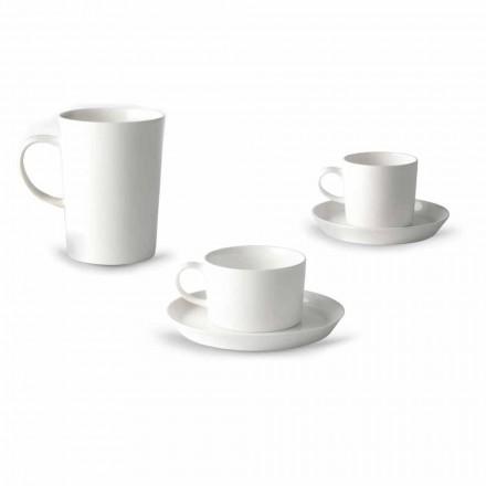 Šálek kávy, čaje a snídaně 30 kusů v bílém porcelánu - Egle