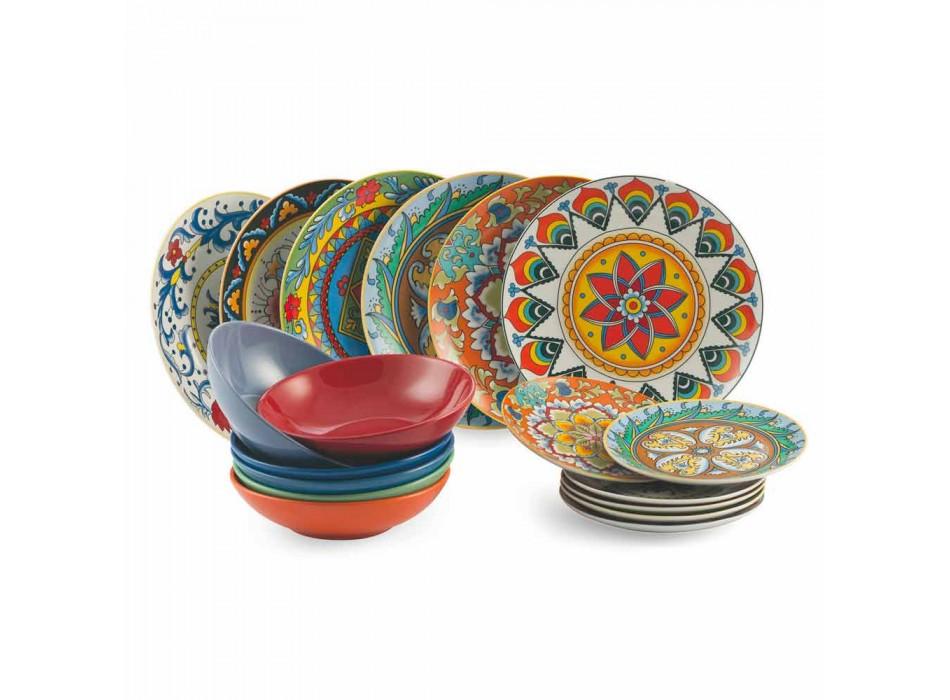 Barevné talířové talíře sada 18 kusů porcelánu a kameniny - renesance