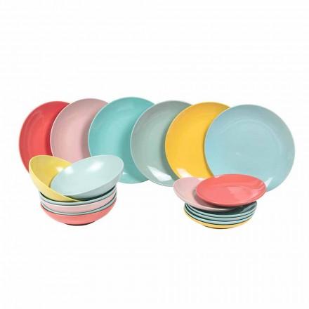 Nádobí sada barevné moderní nádobí 18 kusů kameniny - Miami