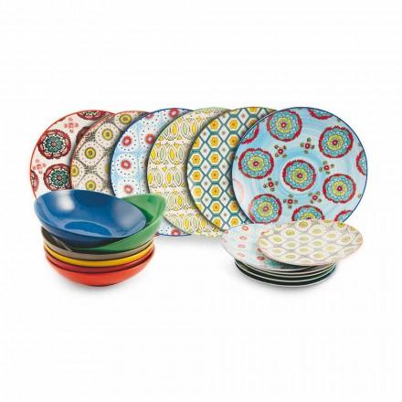 Sada moderních etnických barevných desek z porcelánu a kameniny 18 kusů - Istanbul