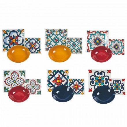 Služba 18 kusů moderních gresových a porcelánových barevných talířů - Iglesias