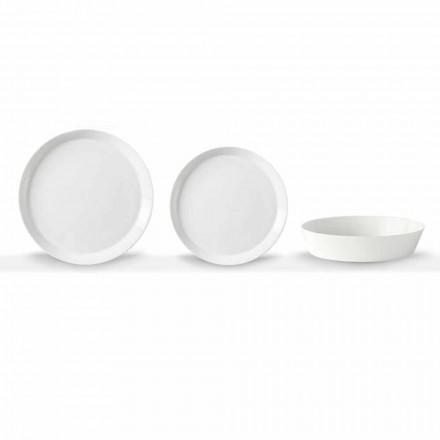 Elegantní design bílý porcelánový 18-dílný talířový talíř - Egle