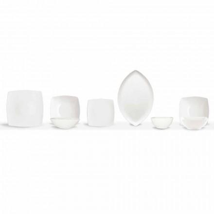 Bílý talíř s obsluhou a moderní design 26 kusů - Usima