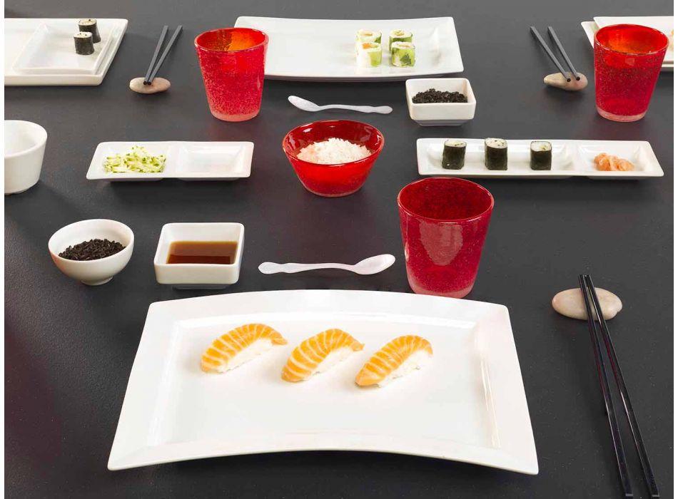 Bílé porcelánové moderní jídelní talíře sada 25 kusů - bazální