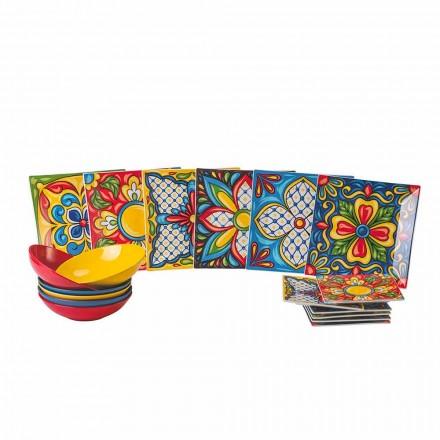 Porcelán a kamenina Barevná servírovací talířová služba 18 kusů - Aztecas