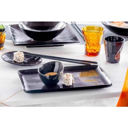 Sada na nádobí 28 kusů kompletní černý porcelánový moderní design - Skar