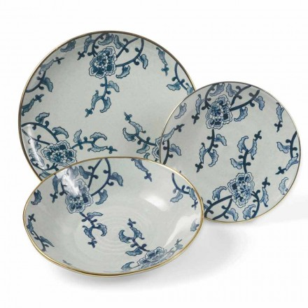 Nádobí v modré a bílé porcelánové moderní 18 kusech - Kyushu