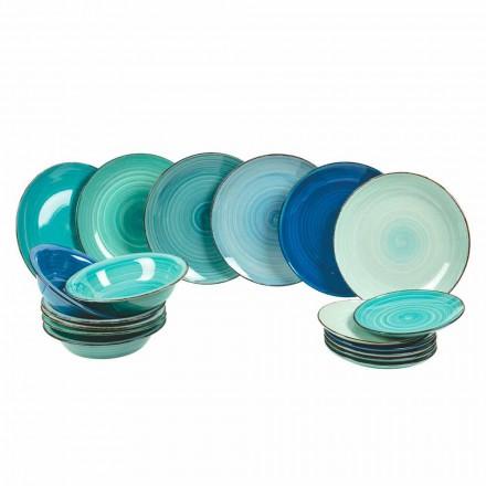 Sada nádobí z moderního a barevného kameniny, kompletní 18 kusů - Pelagos