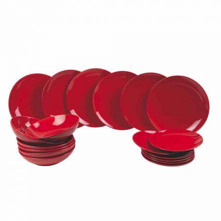 Červené vánoční talíře zasazené do kameniny 18 dílná tradice a elegance - Rossano