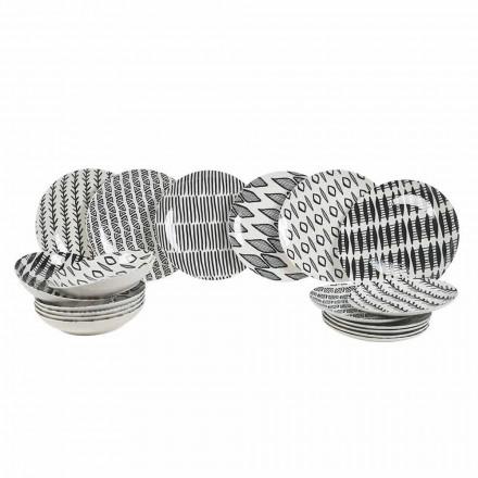 Elegantní černá a bílá porcelánová stolní souprava 18 kusů - Tanzanie