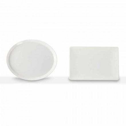 Večeře talíře sada oválný a obdélníkový design 3 kusy v porcelánu - Egle