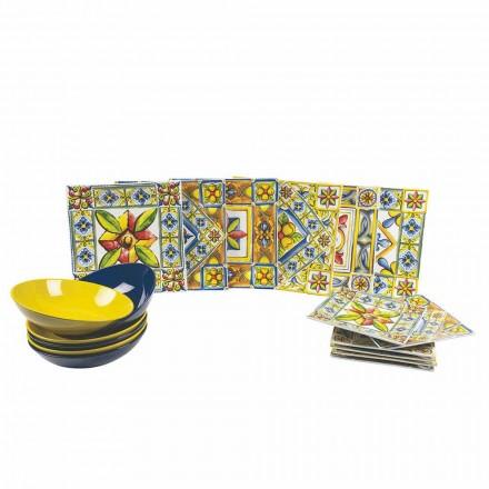 Sada moderních barevných čtvercových desek v porcelánu 18 kusů - léto