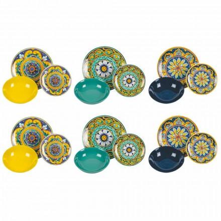 Kompletní stolní servis z porcelánu a barevného kameniny 18 kusů - Kalábrie