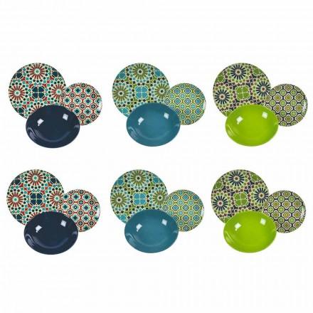 Stolní servírovací talíře, porcelán a moderní barevné kameniny, 18 kusů - sýpky