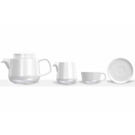 Porcelánový servis šálků a podšálků, porcelánová konvice a konvice na mléko 14 kusů - arktická