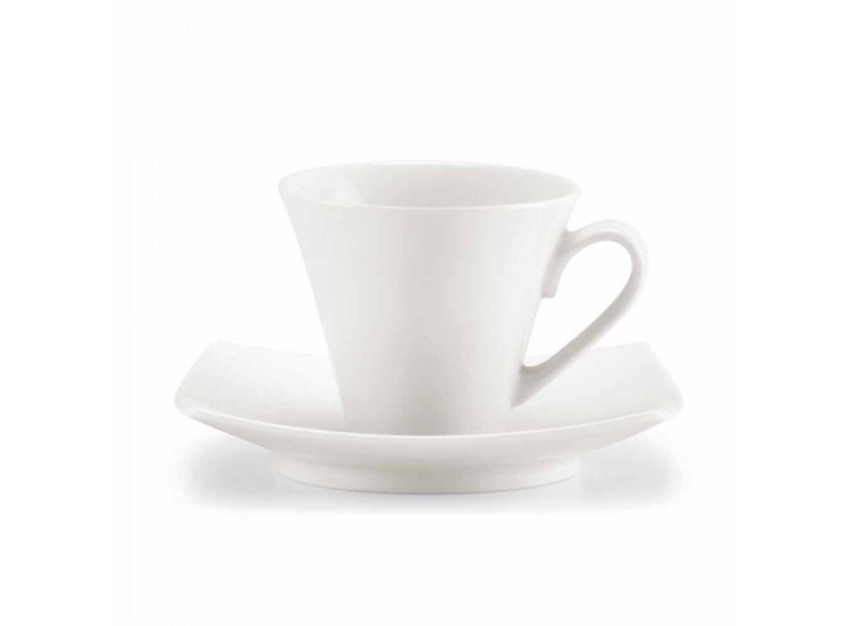 Bílé porcelánové kávové šálky Service Modern Design 8 Pieces - Duomo