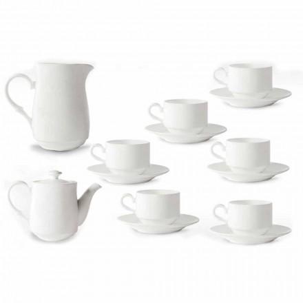 White Porcelain Cappuccino Cups Service 14 Snídaně Pieces - Samantha