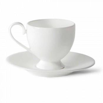 Cappuccino poháry servis s nohou 14 kusů v bílém porcelánu - Armanda
