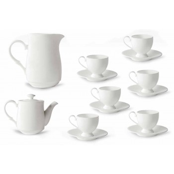 Servis šálků na cappuccino s nohou 14 kusů v bílém porcelánu - Armanda