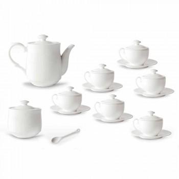 Bílý porcelánový čajový šálek sada 21 kusů s víkem - Samantha