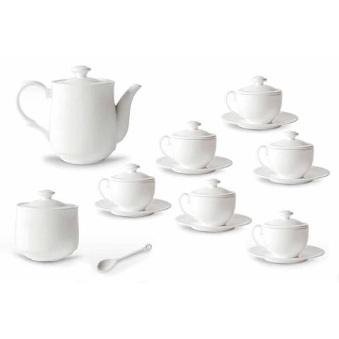 Sada bílého porcelánového šálku na čaj 21 kusů s víčkem - Samantha