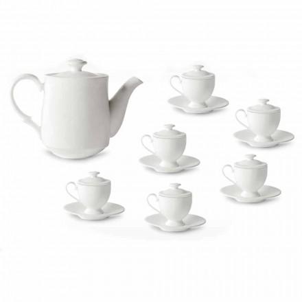 Šálky na kávu s nožičkami a víkem 19 kusů v porcelánu - Armanda