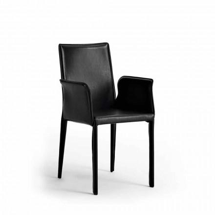 Židle s ocelovou strukturou potaženou kůží - moderní design Jolie