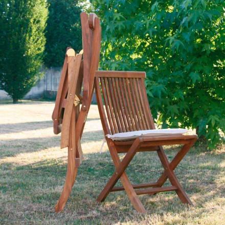 září skládací židle v zahradě teakového