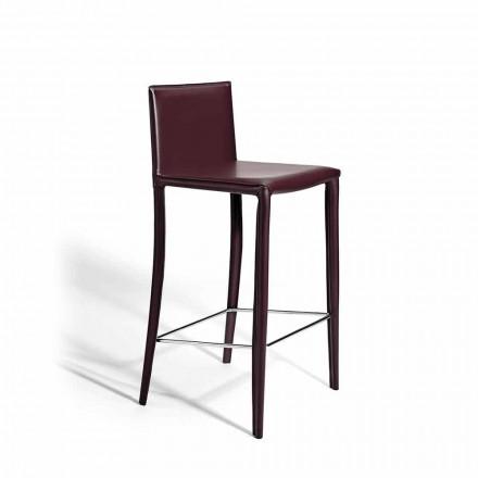 Lakovaná ocelová stolička Čalouněná v moderní kůži, 2 kusy - klec