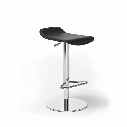 Stolička z umělé kůže, kůže nebo kůže, ocelové a dřevěné konstrukce - model Peck