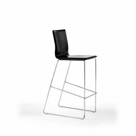 Stohovatelná designová stolička z oceli, dřeva, kůže, umělé kůže nebo kůže, 2 kusy