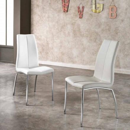 4. září židle moderní design faux kůže a chrom kov Alba