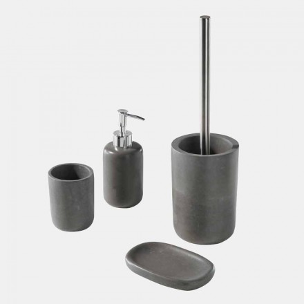 Šedá pryskyřice volně stojící sada koupelnových doplňků - kbelík