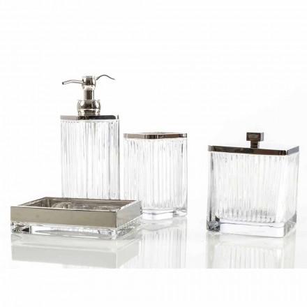 Moderní koupelnová deska a příslušenství v skle a kovu Priola