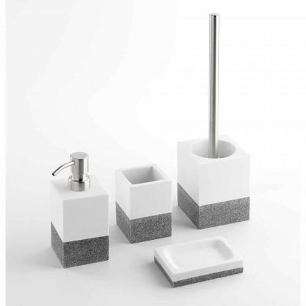 Sada značkových koupelnových doplňků v bílé a šedé pryskyřici - Saeda