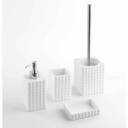 Sada moderních koupelnových doplňků v bílé pryskyřici nebo písku - perly