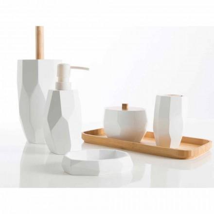 Sada designových koupelnových doplňků do dřeva a pryskyřice Rivalba