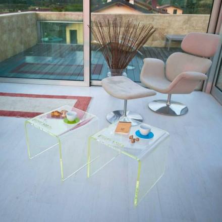Sada 2 moderních nočních stolků v metakrylátu Vyrobeno v Itálii - Leielui