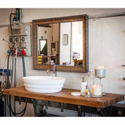Sada závěsného designového nábytku pro koupelnu v teakové dřevěné desce Poggio