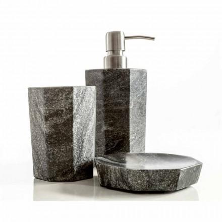 Sada moderních koupelnových doplňků v Montafií žilovém šedém mramoru