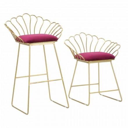 Dvojice barevných moderních designových stoliček v železe a polyesteru - Malika