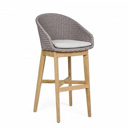 Vysoká venkovní stolička z lana a teakového dřeva, Homemotion, 2 kusy - Anitha