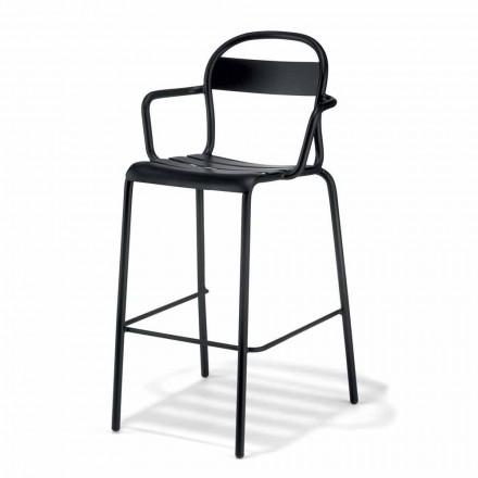 Vysoká venkovní stolička z hliníku s područkami vyrobenými v Itálii - Selima